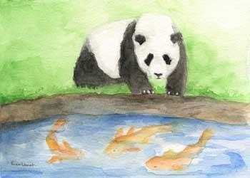 Tai Shan Greets Koi Fish