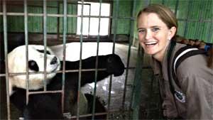Shea visited her adopted panda Tong Tong