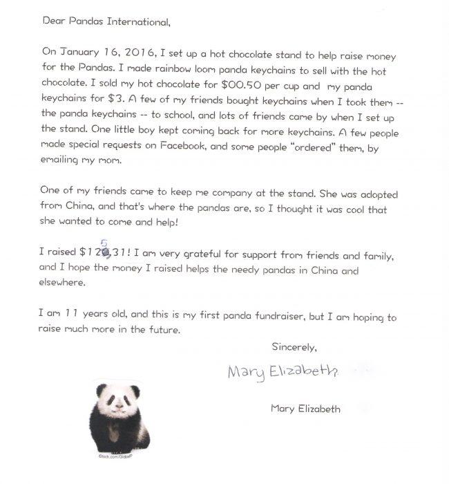 mary elizabeth letter