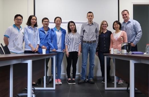 CCRCGP Training.  Left to right: Yong; Sophie; Strong; Roo; Jenny; David Kersey; Jessica Coote; Ms. Zhou; Nathan Wintle